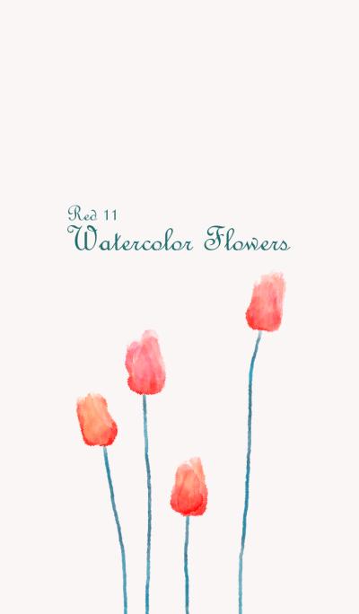 Watercolor Flowers[Tulip]Red 11