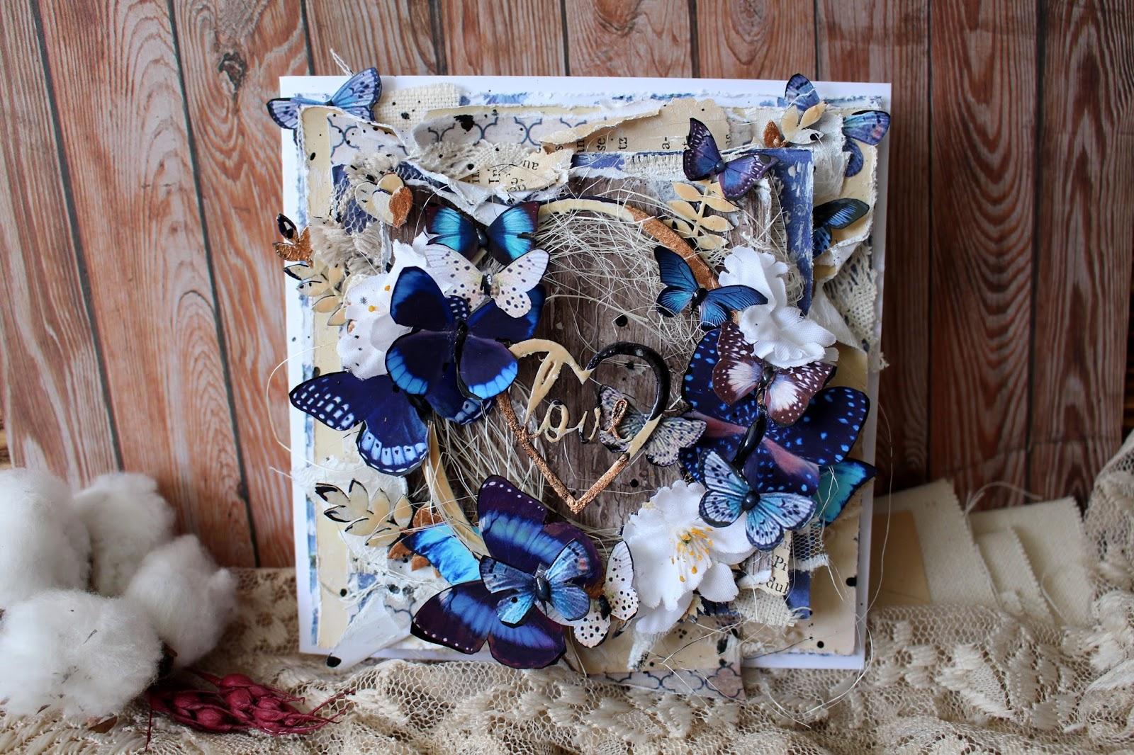 Женщине, скрап открытка с бабочкой