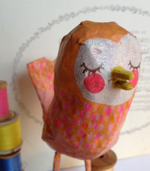 paper mache, bird, sculpture, Sarah Hand, Etsy, Hearts and Needles