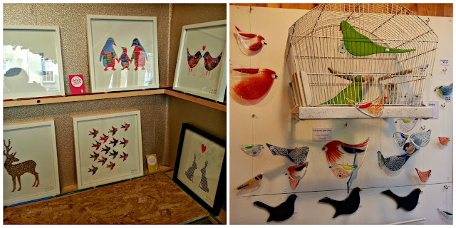 Handmade pictures and glass bird ornaments