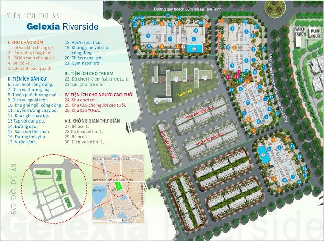 Mặt bằng phân khu tiện ích công năng sử dụng tại Gelexia Riverside