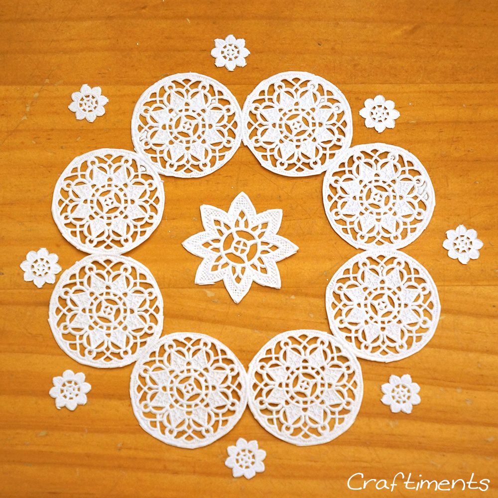 cut out pieces of doily