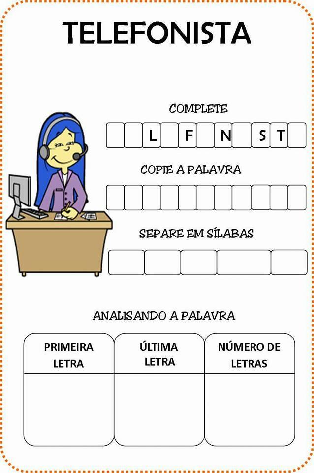 atividades profissões ensino fundamental