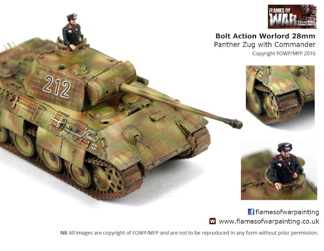 Bolt Action Warlord 28mm Panther Zug with command  Painted By Flames of War Painting/ MFP
