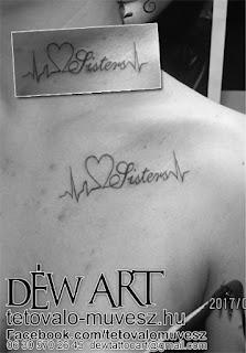 Sisters tattoo, Testvér tetoválás, Nagyváti Dávid, Szeged tetoválás, Déw art, Szöveg tetoválás, csajos tetoválás minta,