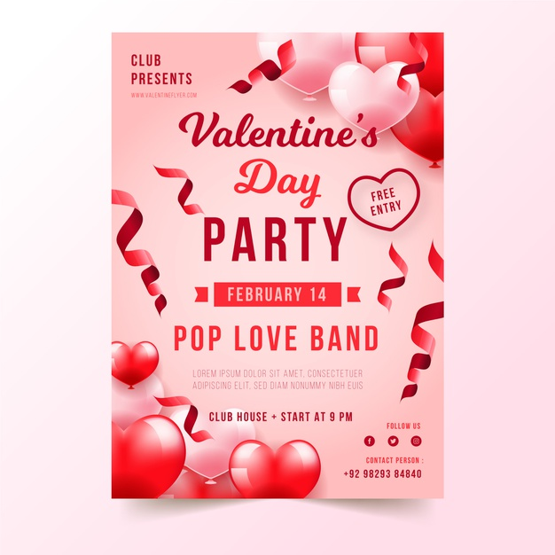 Realistic valentine's day party poster template Free Vector