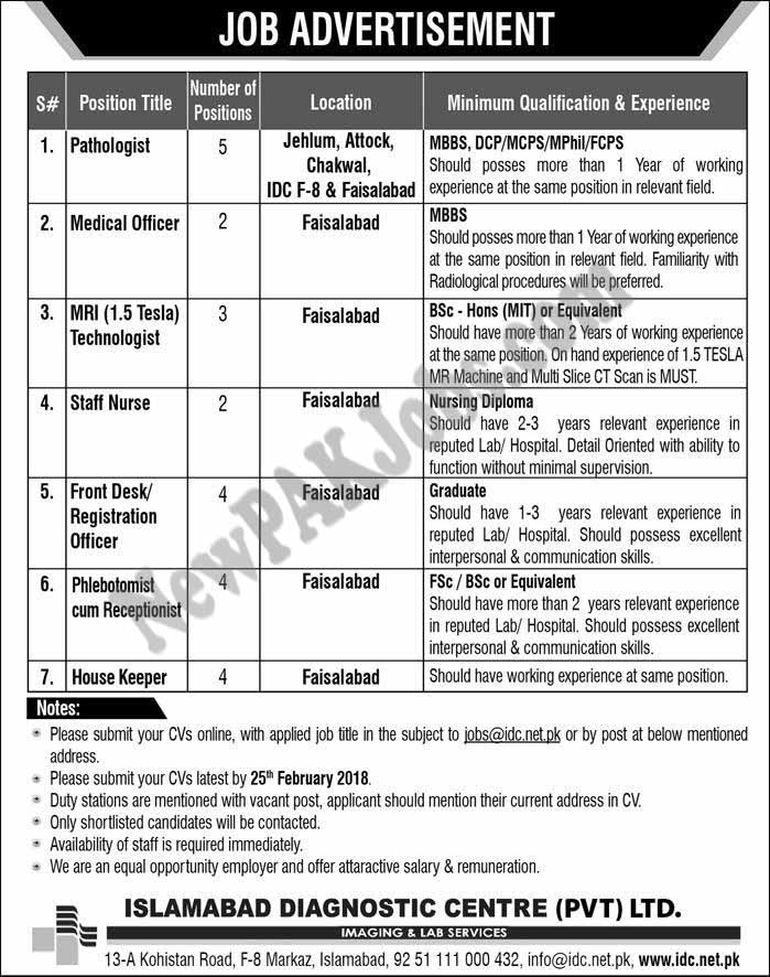 Islamabad Diagnostic Center Latest Jobs Sunday 16 Feb 2018