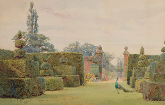 "Artwork, XIX century art, watercolours, ""The yew garden"" by George Samuel Elgood, Arley, 1890."