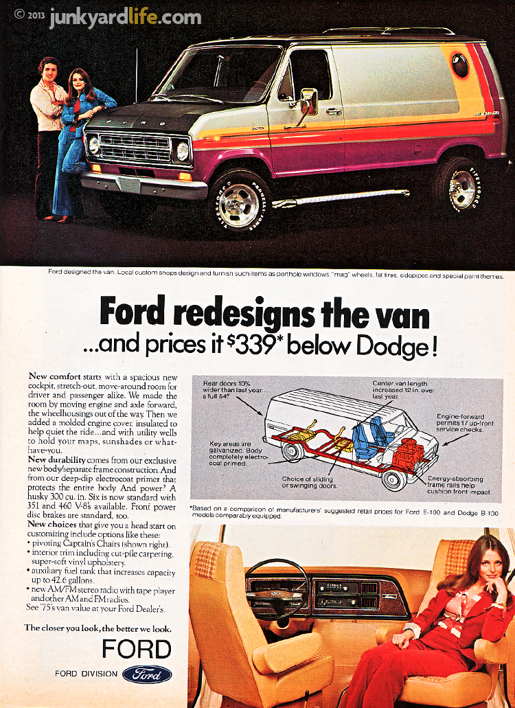 Ford added custom paint, wheels to their 1975 van ads.