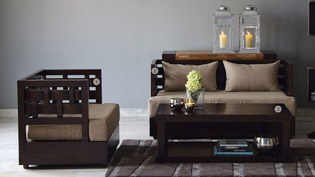 wooden sofa with table by westside furniture