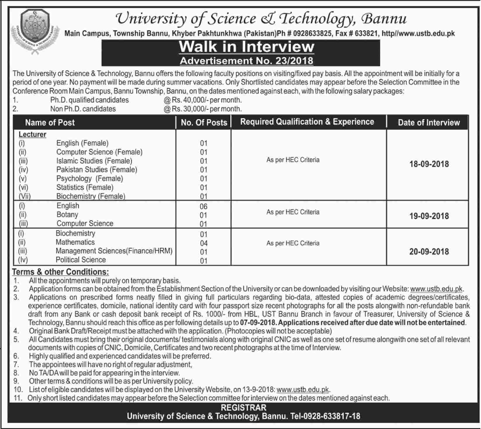 University Of Science And Technology Jobs