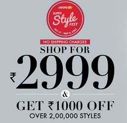 Jabong: Men's / Women's Clothing, Footwear & Fashion Accessories – Upto 86% Off + Extra Rs.1000 Off on Min Rs.2999 + 5% Extra Off