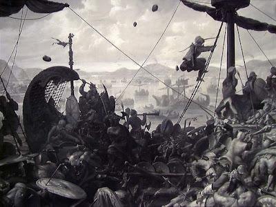 Harald Hårfagre i slaget ved Hafrsfjord by Ole Peter Hansen Balling