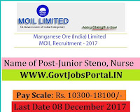 MOIL Limited Recruitment 2017– 16 Junior Steno, Nurse