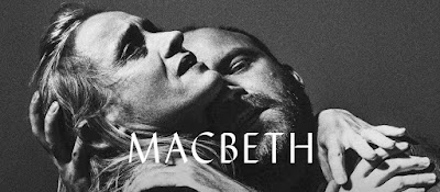 National Theatre's banner for Macbeth - monochrome image of Rory Kinnear and Anne Marie Duff embracing