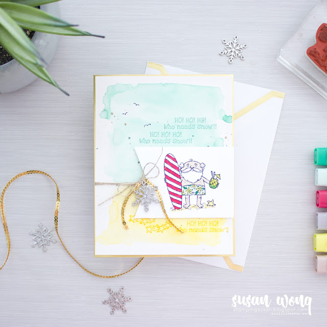 So Santa by Stampin' Up! - Beach Scene Christmas Card - by Susan Wong