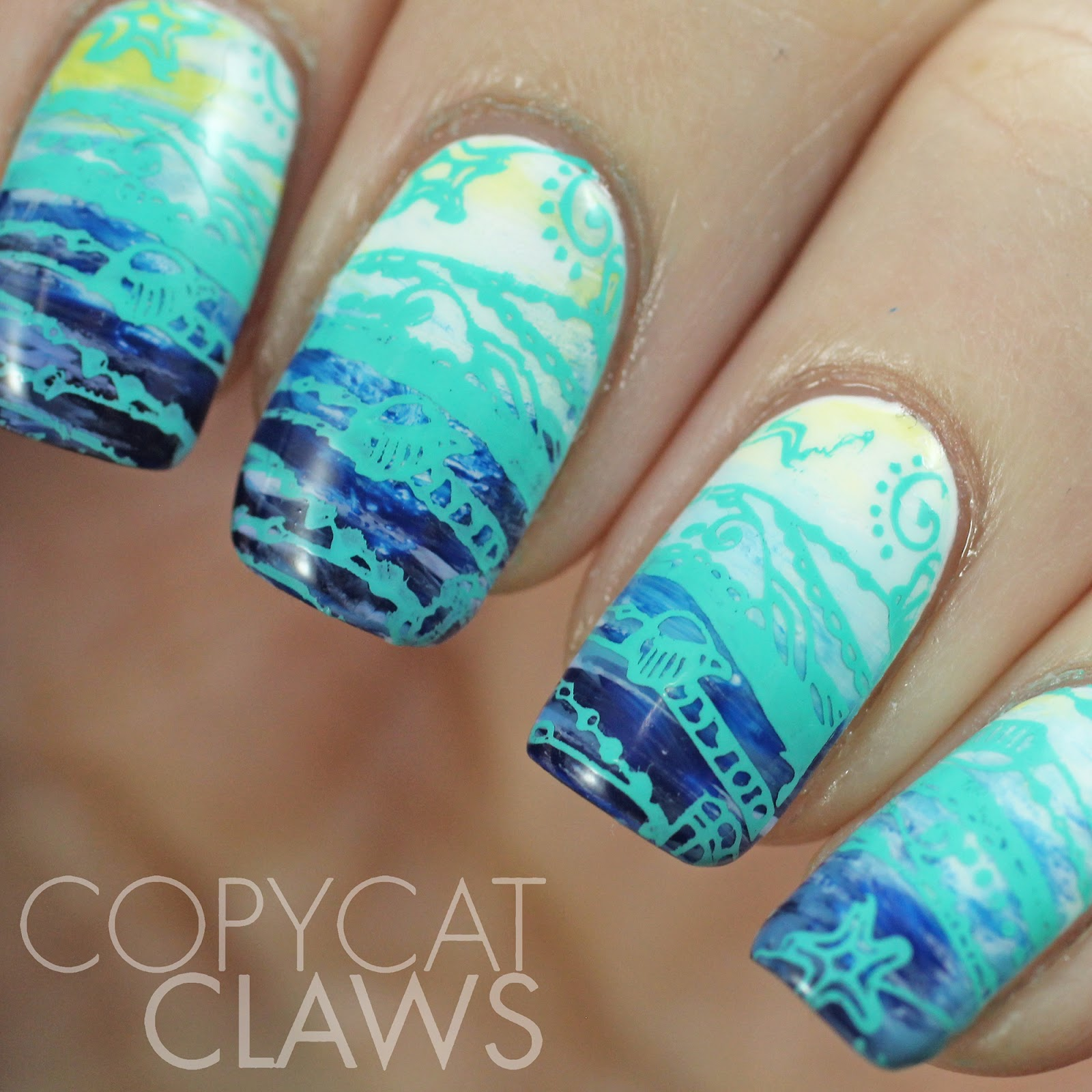 Copycat claws the digit al dozen does nature day 3 fan brush the digit al dozen does nature day 3 fan brush ocean nail art prinsesfo Image collections