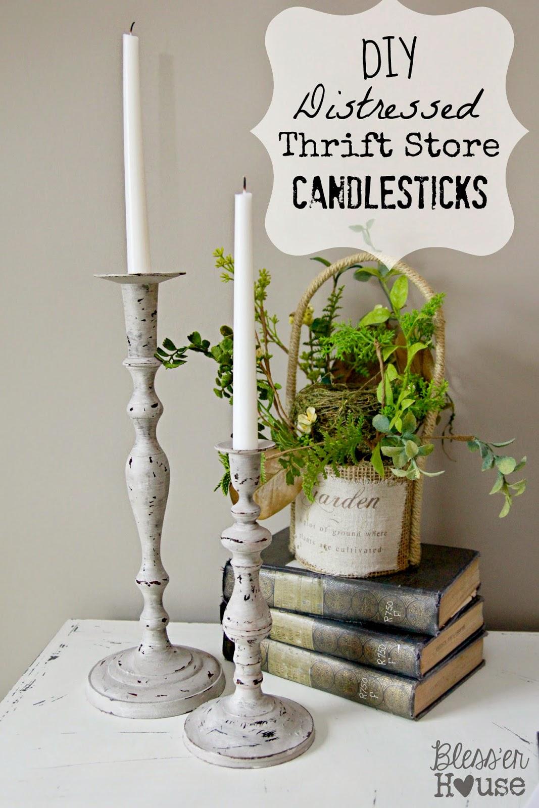 Diy Distressed Thrift Store Candlesticks Bless Er House