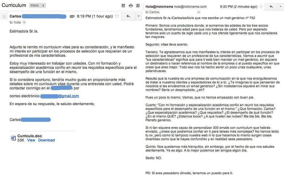 eInquisidor: Si piensas enviar tu Currículum escribe un correo ...