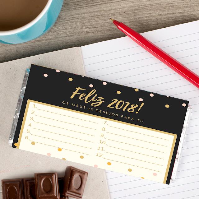 chocolate personalizado 12 desejos para o ano novo de 2018 comprar online