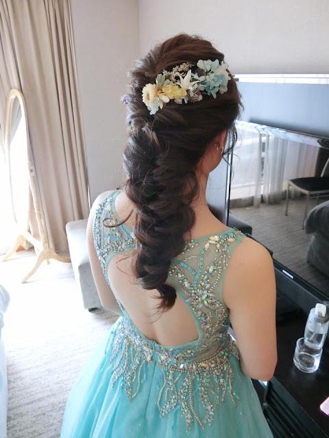 乾燥花造型 | 半盤髮 | 後盤髮編髮 | 水藍色禮服