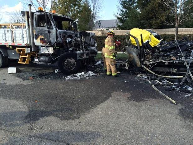 visalia truck crash parked vehicle fire fatality southern california edison