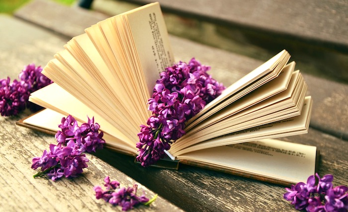 vintage book with lilacs