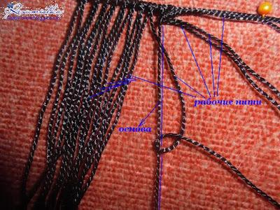 шелковый браслет с бусинами