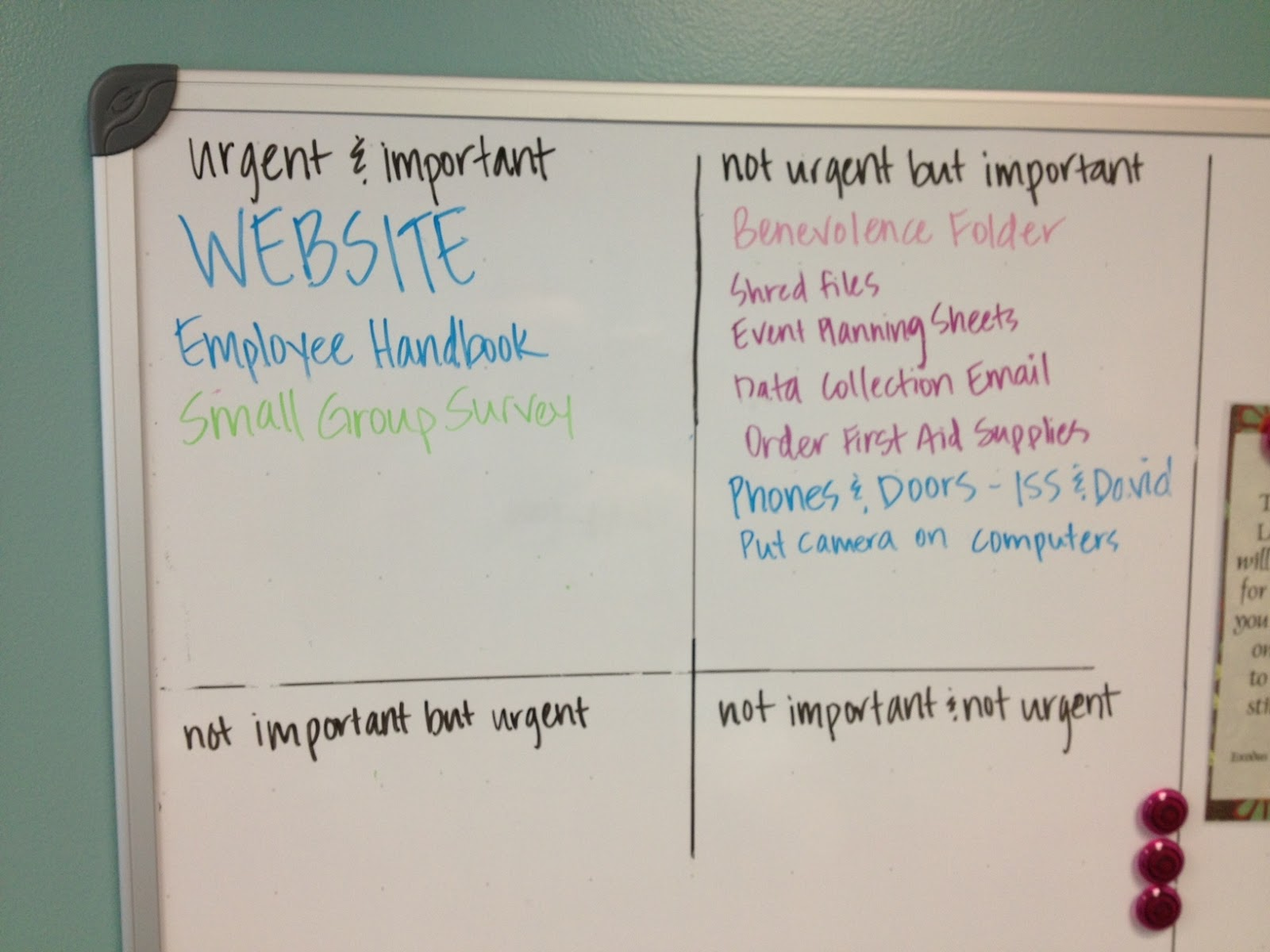 Here s another example one of our staff members uses the quadrants to