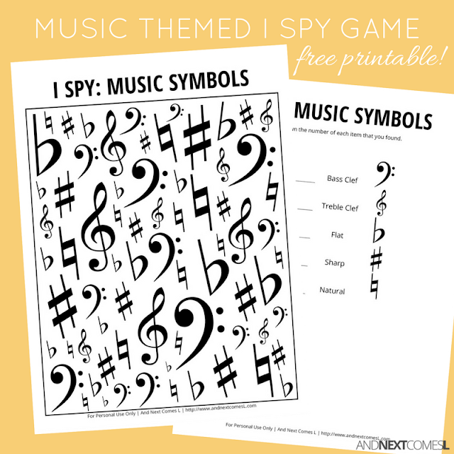 Free music themed I Spy game for kids from And Next Comes L
