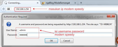 username password modem speedy