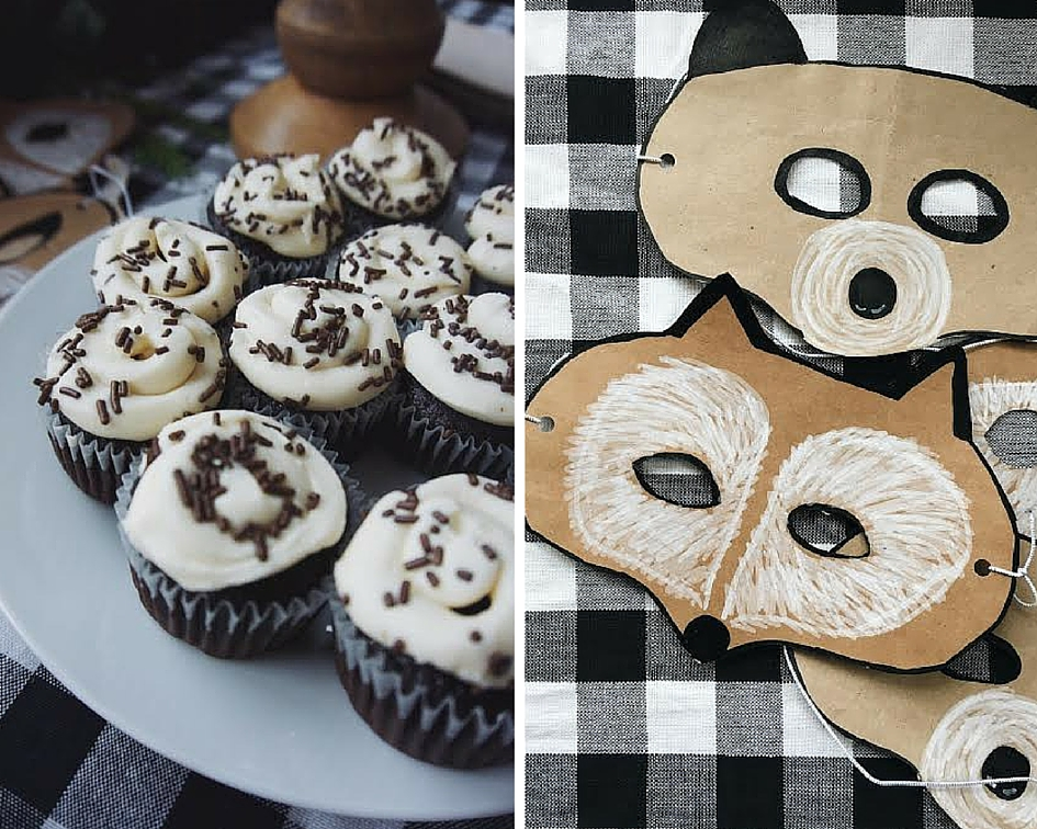 diy animal masks for a birthday party and gluten free birthday cupcakes