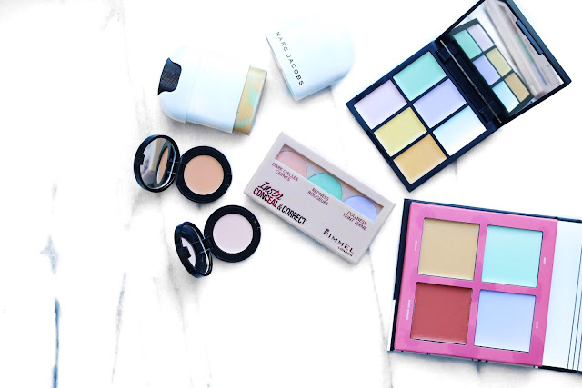 beauty, makeup, face, colour correcting, Sleek Colour Correcting Palette, Marc Jacobs Cover Stick, Rimmel London Insta Conceal & Correct, Bobbi Brown Corrector, Lottie London Colour Clique, review,