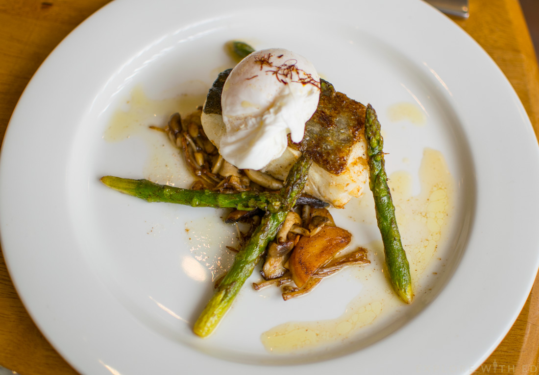 Cod Fillet with Poached Egg asparagus