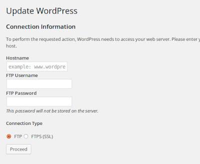 Cara menginstal login dari koneksi informasi setiap install atau update plugin wordpress di localhost
