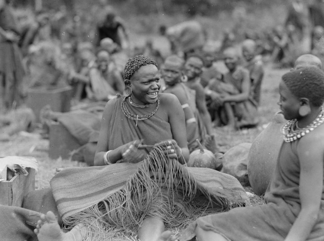 African women making rugs in Kenya at Fort Hall near Nyeri in 1946