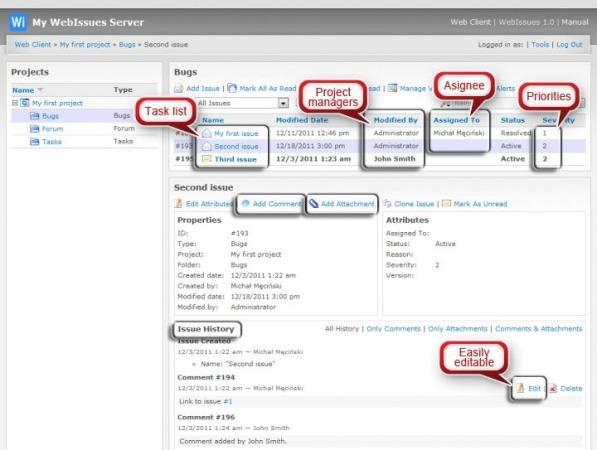 Interfaz de Webissues