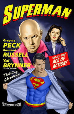 Superman featuring Gregory Peck as The Man of Steel, Rosalind Russell as Lois Lane, and Yul Brynner as Lex Luthor