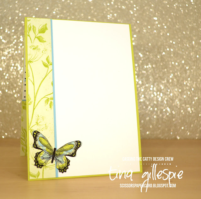 scissorspapercard, Stampin' Up!, CASEing The Catty, Botanical Butterfly DSP (SAB), Butterfly Elements (SAB), Organdy Ribbon (SAB)