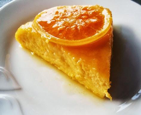 Ración de pudin de calabaza y naranja