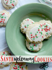 Santa Meltaway Cookies...just in time for Christmas!  These easy, minimal ingredient cookies come together quickly on Christmas Eve.  No need to stress Mom! (sweetandsavoryfood.com)