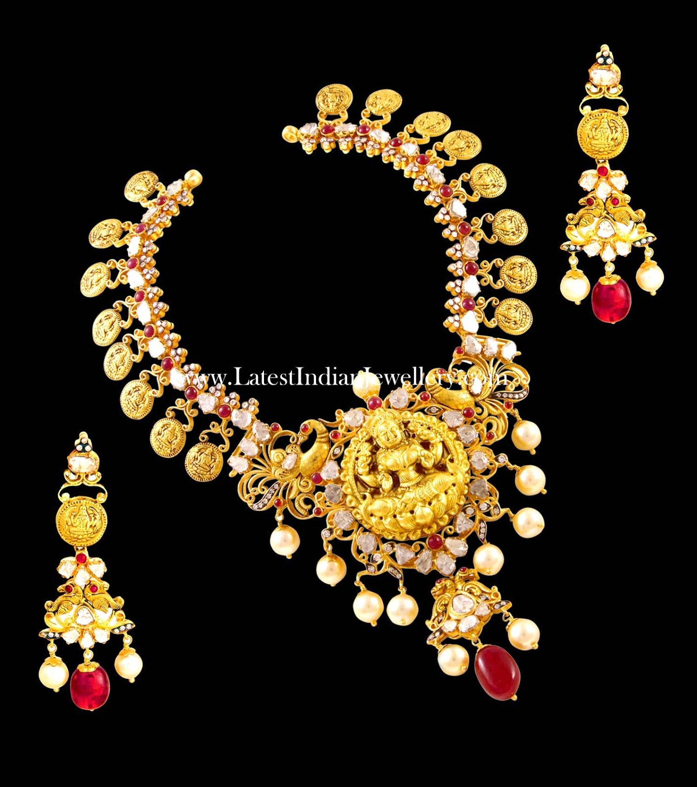 Kasu Mala Polki Temple Necklace