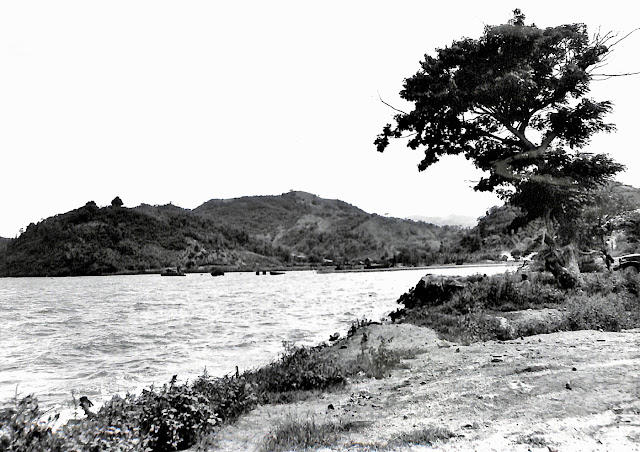 Base R, Batangas, Batangas, P.I., from the east shore of Mainaga Cover.  Taken 28 June 1945.