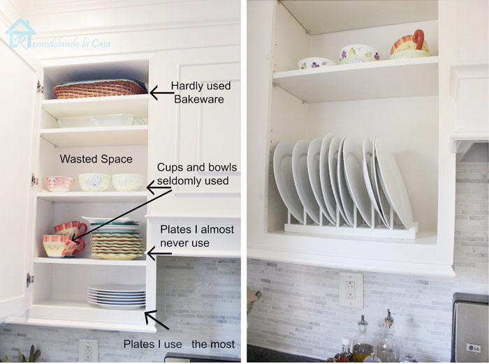 organizing cabinet and building and installing plate rack in it