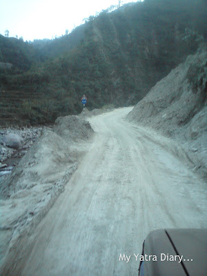 Bad condition of roads encountered in the Garhwal Himalayas during the Char Dham Yatra