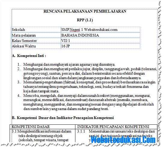 RPP Bahasa Indonesia Kelas 7 K13 Revisi Terbaru Lengkap ...