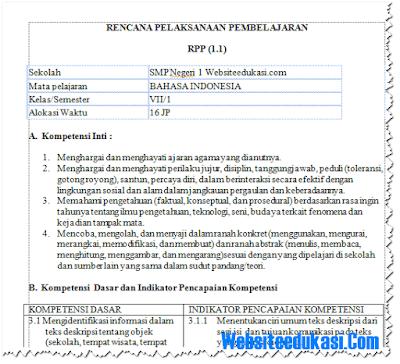 RPP Bahasa Indonesia Kelas 7 K13 Revisi 2018 Lengkap
