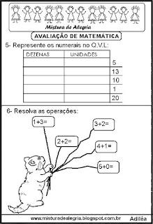 Avaliação de matemática 1º ano