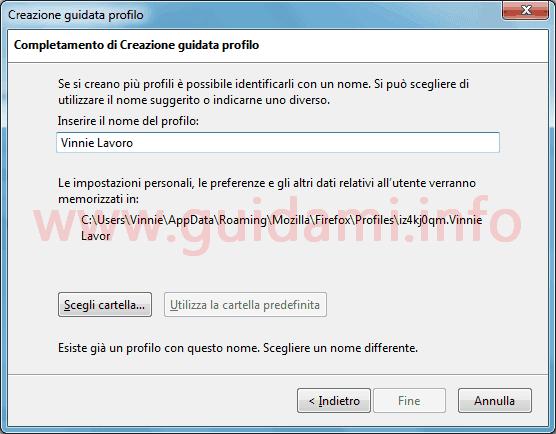 Firefox finestra creazione guidata nuovo profilo utente