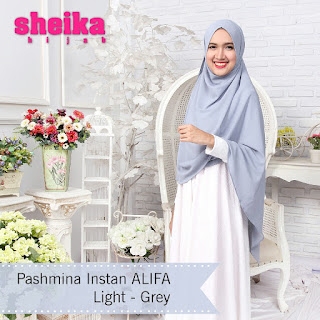 Pashmina Instan Alifa Light Grey